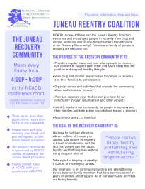 Flyer for the National Council on Alcoholism and Drug Dependence in Juneau, AK